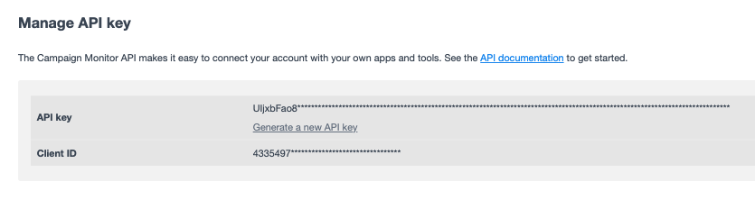 Show API keys