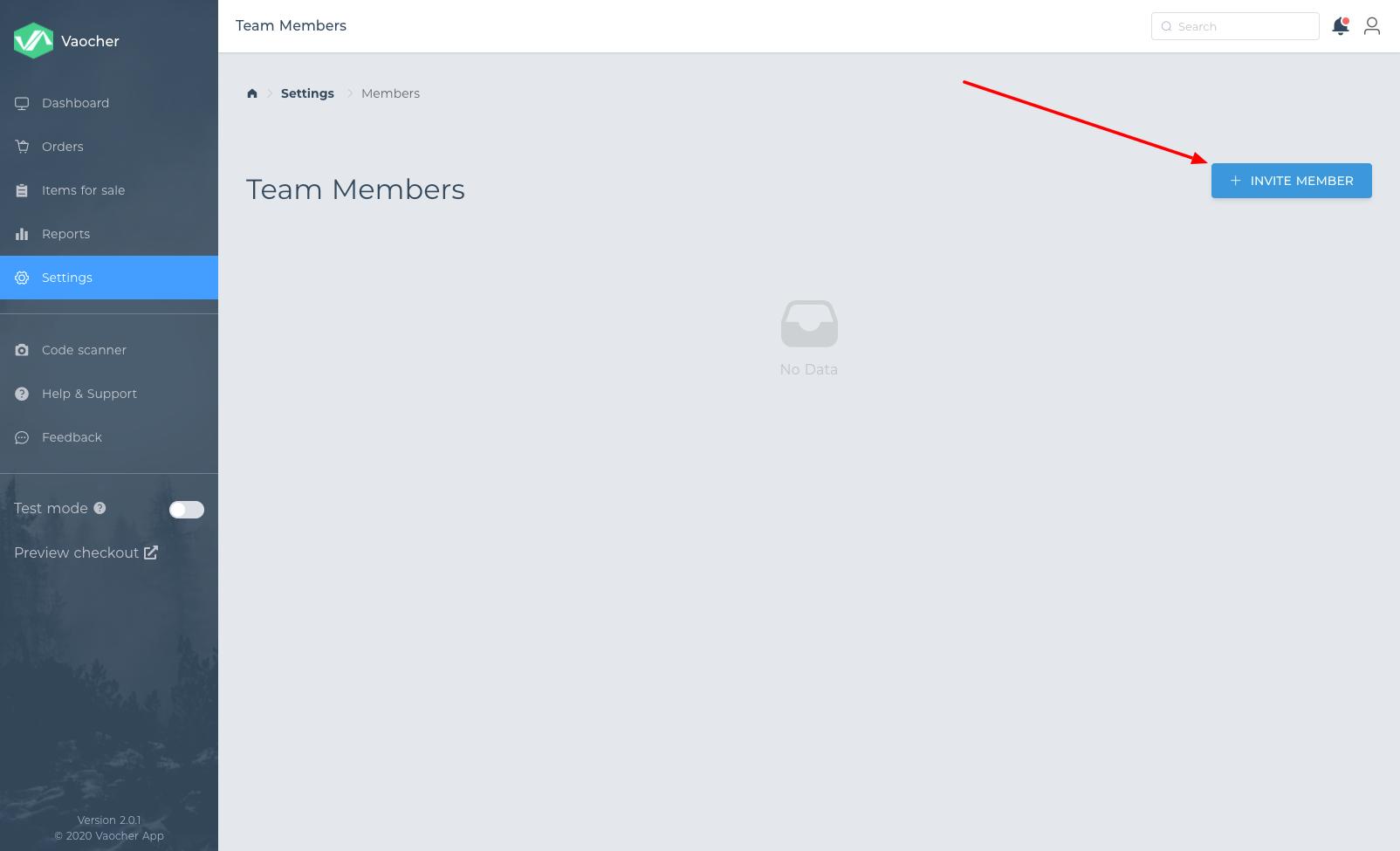 How to invite team member in VaocherApp