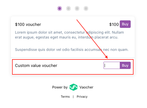 How to sell custom value gift vouchers