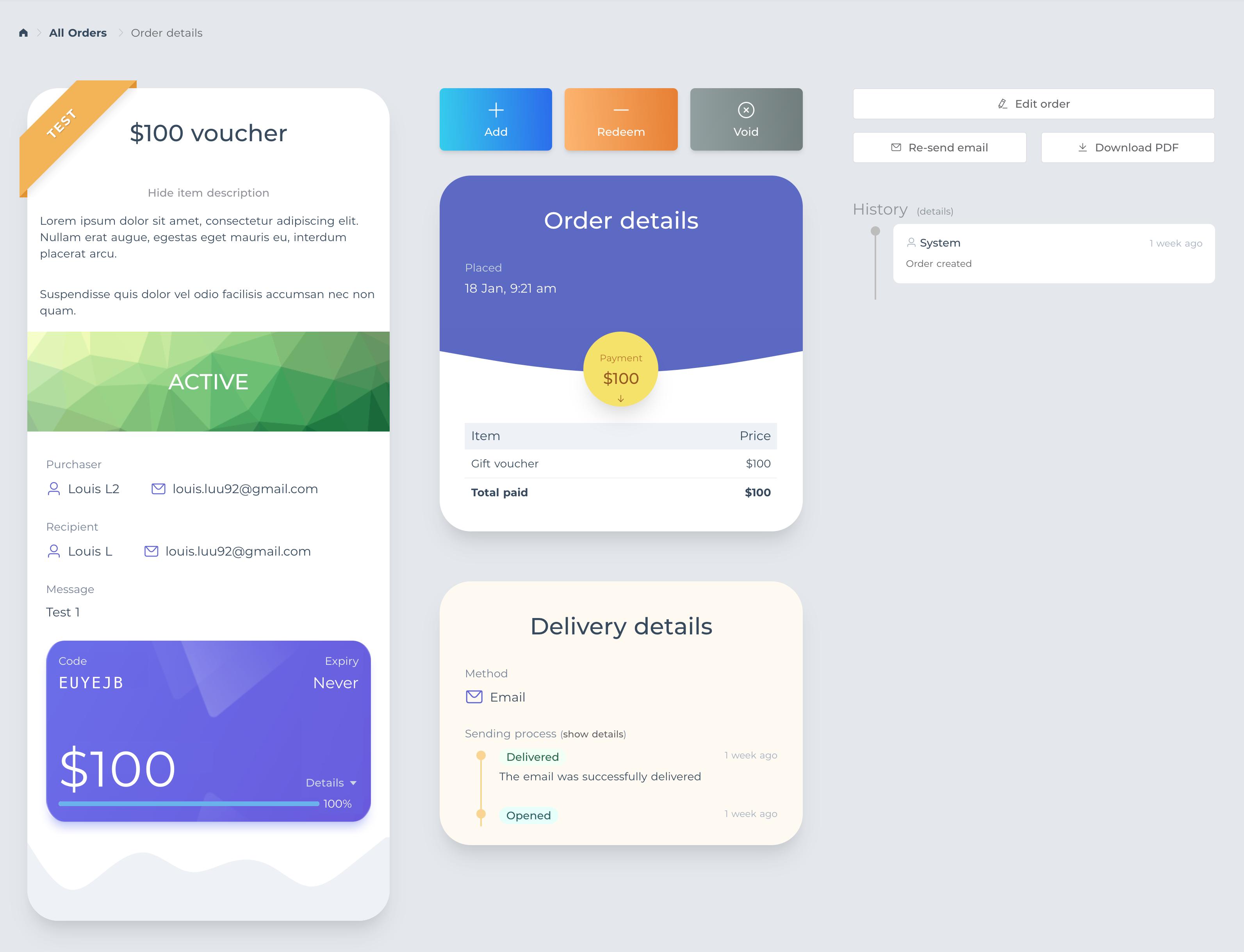Gift voucher new interface