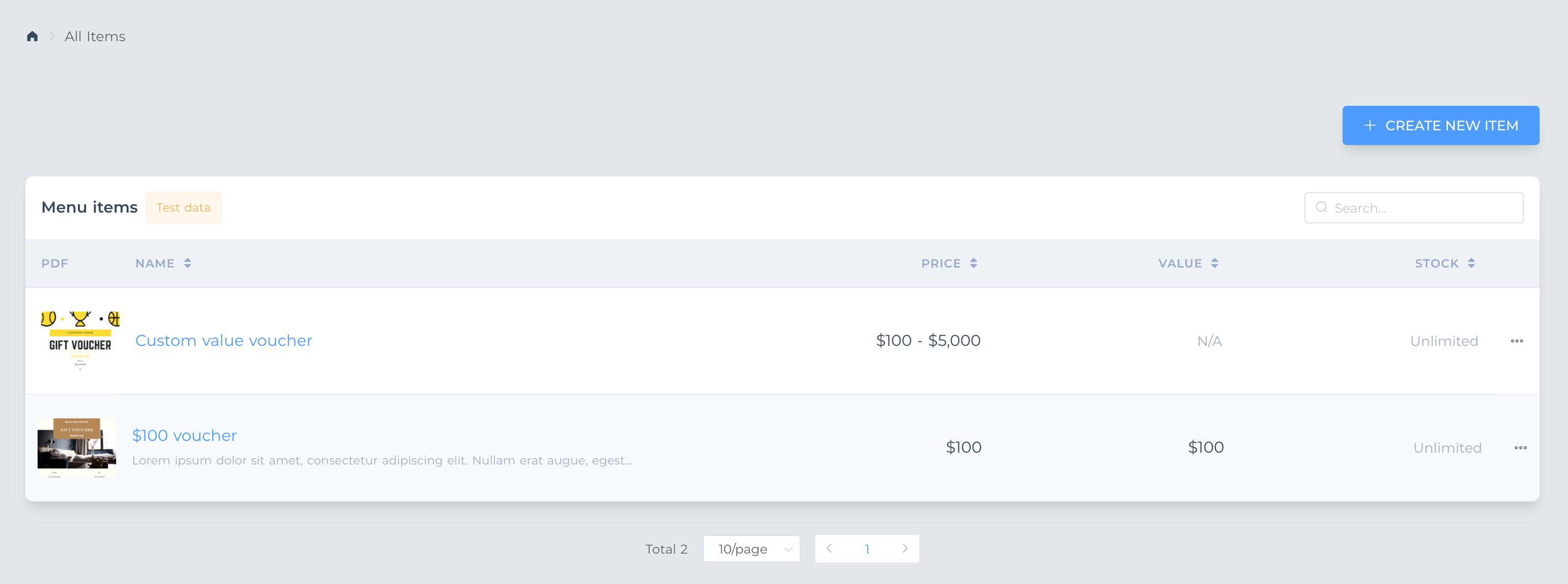 Menu items new interface